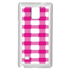Hot Pink Brush Stroke Plaid Tech White Samsung Galaxy Note 4 Case (white) by Mariart