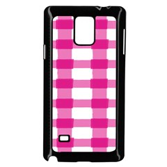 Hot Pink Brush Stroke Plaid Tech White Samsung Galaxy Note 4 Case (black) by Mariart