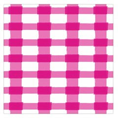 Hot Pink Brush Stroke Plaid Tech White Large Satin Scarf (square) by Mariart