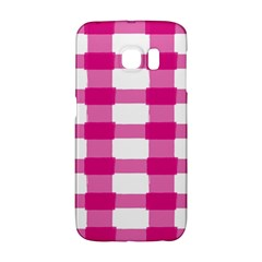 Hot Pink Brush Stroke Plaid Tech White Galaxy S6 Edge by Mariart
