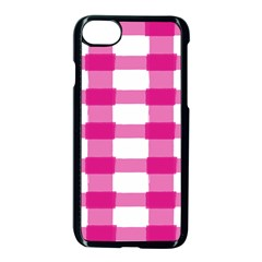 Hot Pink Brush Stroke Plaid Tech White Apple Iphone 7 Seamless Case (black) by Mariart
