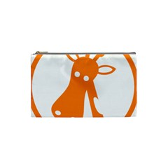 Giraffe Animals Face Orange Cosmetic Bag (small)  by Mariart
