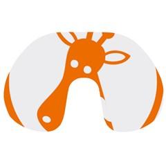 Giraffe Animals Face Orange Travel Neck Pillows by Mariart