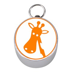 Giraffe Animals Face Orange Mini Silver Compasses by Mariart