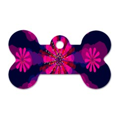 Flower Red Pink Purple Star Sunflower Dog Tag Bone (two Sides) by Mariart