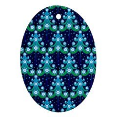 Christmas Tree Snow Green Blue Ornament (oval) by Mariart