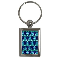 Christmas Tree Snow Green Blue Key Chains (rectangle)  by Mariart