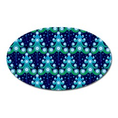 Christmas Tree Snow Green Blue Oval Magnet by Mariart