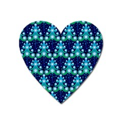 Christmas Tree Snow Green Blue Heart Magnet by Mariart