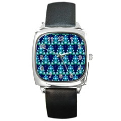Christmas Tree Snow Green Blue Square Metal Watch by Mariart