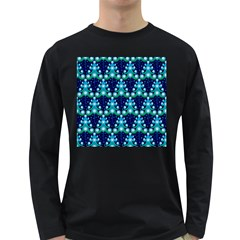 Christmas Tree Snow Green Blue Long Sleeve Dark T Shirts by Mariart
