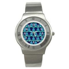 Christmas Tree Snow Green Blue Stainless Steel Watch by Mariart