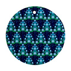 Christmas Tree Snow Green Blue Round Ornament (two Sides) by Mariart