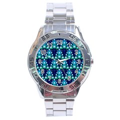 Christmas Tree Snow Green Blue Stainless Steel Analogue Watch by Mariart