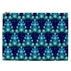 Christmas Tree Snow Green Blue Cosmetic Bag (xxl)  by Mariart