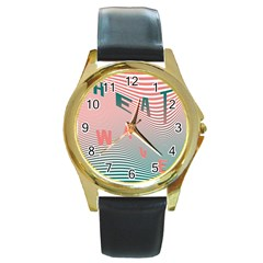 Heat Wave Chevron Waves Red Green Round Gold Metal Watch by Mariart