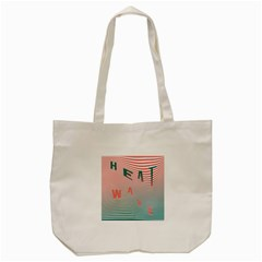 Heat Wave Chevron Waves Red Green Tote Bag (cream) by Mariart