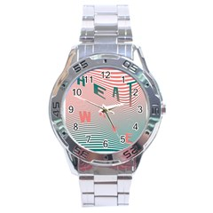 Heat Wave Chevron Waves Red Green Stainless Steel Analogue Watch