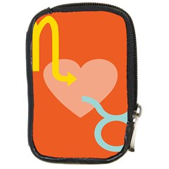 Illustrated Zodiac Love Heart Orange Yellow Blue Compact Camera Cases by Mariart