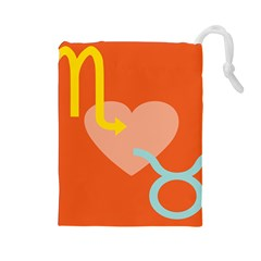 Illustrated Zodiac Love Heart Orange Yellow Blue Drawstring Pouches (large)  by Mariart