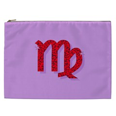 Illustrated Zodiac Purple Red Star Polka Cosmetic Bag (xxl)  by Mariart