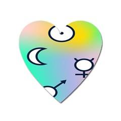 Illustrated Moon Circle Polka Dot Rainbow Heart Magnet by Mariart