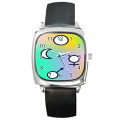 Illustrated Moon Circle Polka Dot Rainbow Square Metal Watch by Mariart