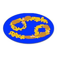 Illustrated 69 Blue Yellow Star Zodiac Oval Magnet by Mariart