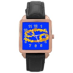 Illustrated 69 Blue Yellow Star Zodiac Rose Gold Leather Watch