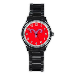 Illustrated Zodiac Red Star Purple Stainless Steel Round Watch by Mariart