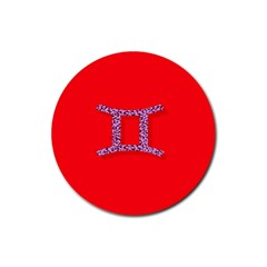 Illustrated Zodiac Red Purple Star Polka Dot Grey Rubber Round Coaster (4 Pack)  by Mariart