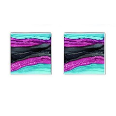 Green Pink Purple Black Stone Cufflinks (Square) by Mariart