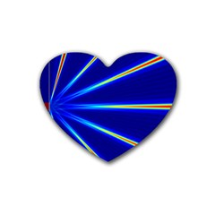 Light Neon Blue Rubber Coaster (heart)  by Mariart