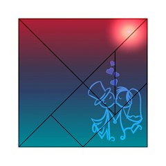 Love Valentine Kiss Purple Red Blue Romantic Acrylic Tangram Puzzle (6  x 6 ) by Mariart