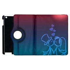 Love Valentine Kiss Purple Red Blue Romantic Apple Ipad 2 Flip 360 Case by Mariart