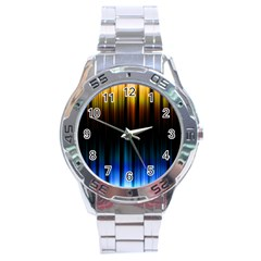 Light Orange Blue Stainless Steel Analogue Watch by Mariart