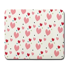 Love Heart Pink Polka Valentine Red Black Green White Large Mousepads by Mariart
