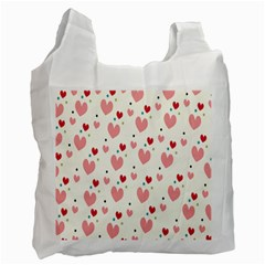 Love Heart Pink Polka Valentine Red Black Green White Recycle Bag (two Side)  by Mariart