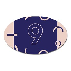 Number 9 Blue Pink Circle Polka Oval Magnet by Mariart