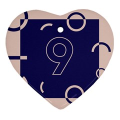 Number 9 Blue Pink Circle Polka Heart Ornament (two Sides) by Mariart