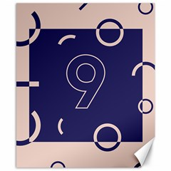 Number 9 Blue Pink Circle Polka Canvas 8  X 10  by Mariart