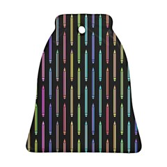 Pencil Stationery Rainbow Vertical Color Bell Ornament (two Sides) by Mariart