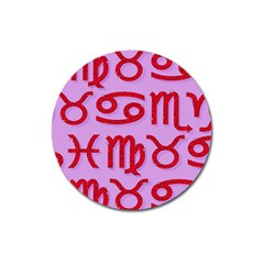 Illustrated Zodiac Red Purple Star Magnet 3  (round) by Mariart