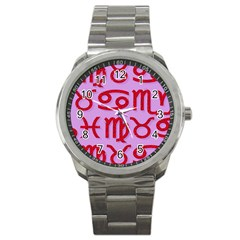 Illustrated Zodiac Red Purple Star Sport Metal Watch by Mariart