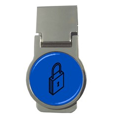 Padlock Love Blue Key Money Clips (round)  by Mariart