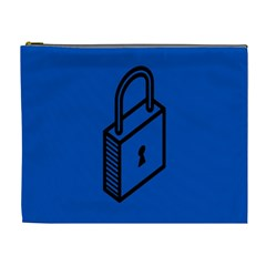 Padlock Love Blue Key Cosmetic Bag (xl) by Mariart