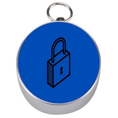 Padlock Love Blue Key Silver Compasses by Mariart
