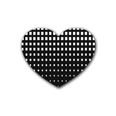 Plaid White Black Rubber Coaster (heart)  by Mariart