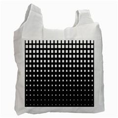 Plaid White Black Recycle Bag (one Side) by Mariart