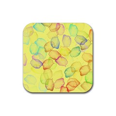 Watercolors On A Yellow Background                Rubber Square Coaster (4 Pack by LalyLauraFLM